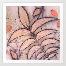Eco Print Pecan leaves on Silk Art Print
