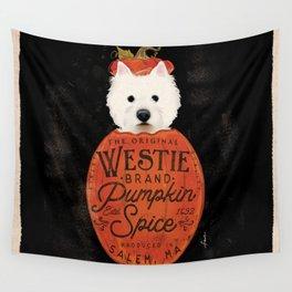 Westie west highland terrier dog pumpkin fall october spice latte halloween Wall Tapestry