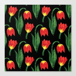 Hand painted orange yellow green watercolor tulips pattern Canvas Print