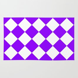 Large Diamonds - White and Violet Rug