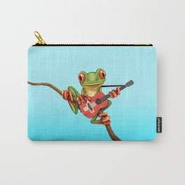 Tree Frog Playing Acoustic Guitar with Flag of Switzerland Carry-All Pouch