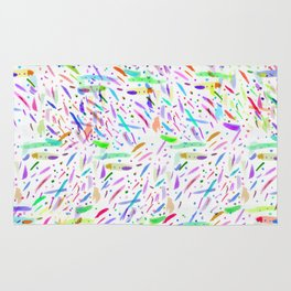 Modern colorful watercolor abstract brushstokes Rug
