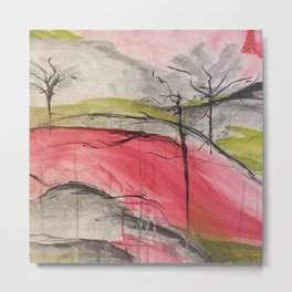 Pink Landscape. Color of Japan. Original Painting by Jodi Tomer. Abstract Artwork. Metal Print
