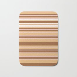 Coffee color stripes Bath Mat