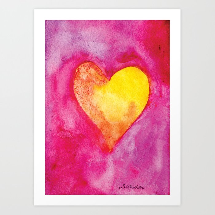 Golden Heart Watercolor Valentine Art Print By Susanwindsor Society6