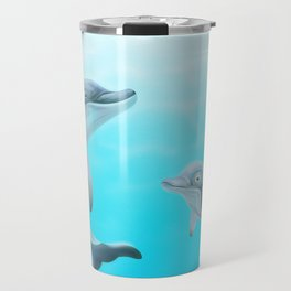Dolphins Swimming in the Ocean Travel Mug