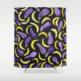 Eggplant & Bananas Shower Curtain