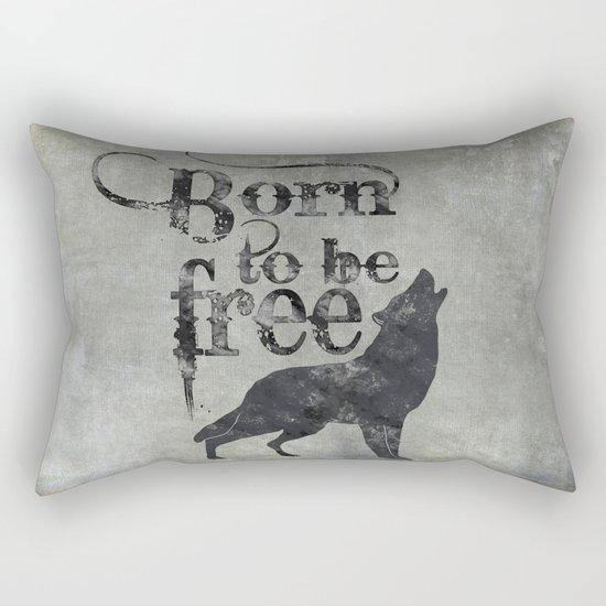 Born to be free wolf illustration Rectangular Pillow