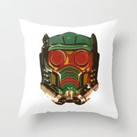 star lord Throw Pillows featuring Star Lord by R. Cuddi