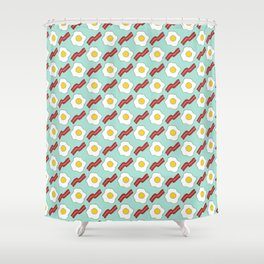Eggs And Bacon   Hand Drawn Breakfast Pattern Shower Curtain