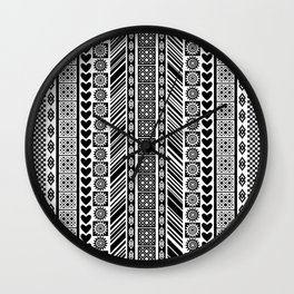Black and White Adinkra Symbol African Print Pattern Wall Clock