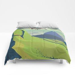 machu picchu travel poster Comforters