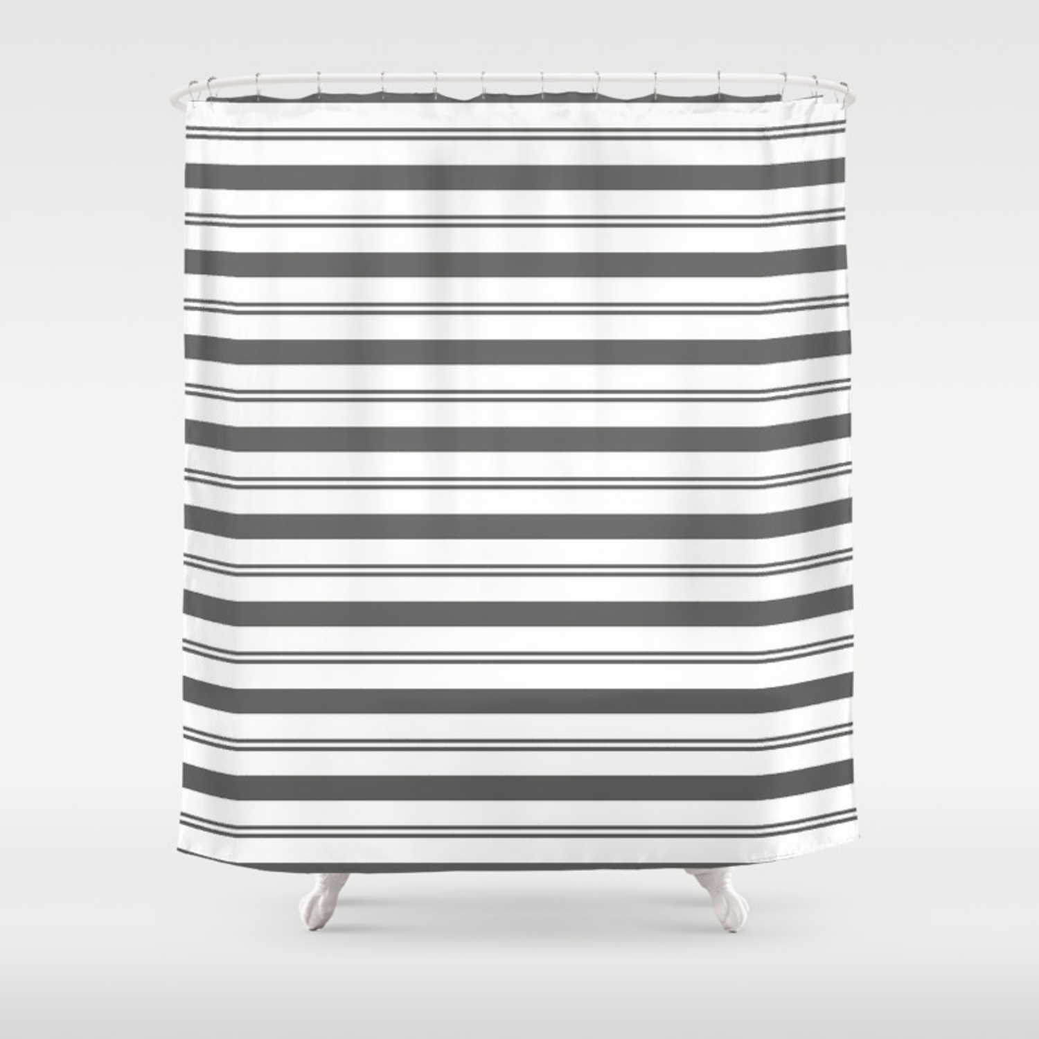 Pantone Pewter Gray And White Stripes Wide And Narrow Horizontal Line Pattern Shower Curtain