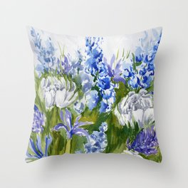 Delphinium Garden Throw Pillow