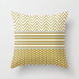Ikat Gold Chevron Throw Pillow