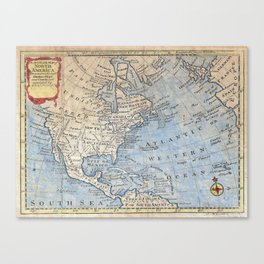 Vintage Map of North America (1747) Canvas Print