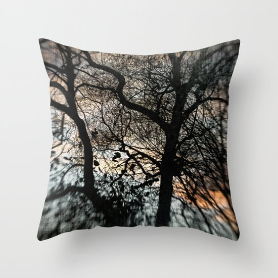 Bleak Winter Sunset Throw Pillow