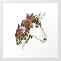 Floral Unicorn Art Print