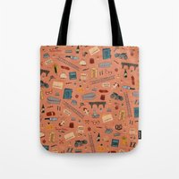the grand budapest hotel Tote Bags featuring Budapest Hotel Plot Pattern by QRS Patterns