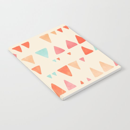 Back & Forth - triangle abstract pattern in peach, aqua & cream Notebook