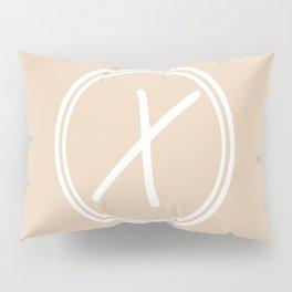 Monogram - Letter X on Pastel Brown Background Pillow Sham