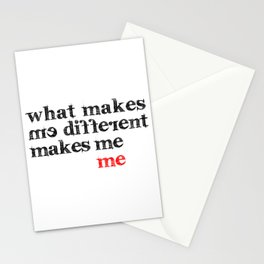What makes me different makes me me | Motivational Inspirational Typography Stationery Cards