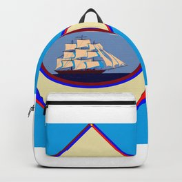 A Nautical Scene with Clipper Ship with Sky Blue Background Backpack