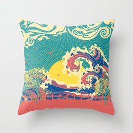 Stylized trees and stormy ocean or sea at sunset Throw Pillow