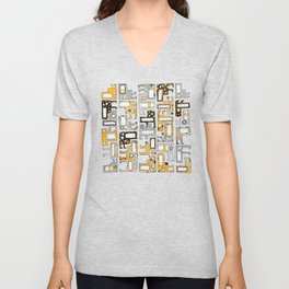 Tetris monsters yellow and grey Unisex V-Neck