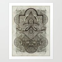 chakra Art Prints featuring Second Chakra by Work the Angle