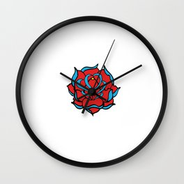 Oldschool Rose Love Wall Clock