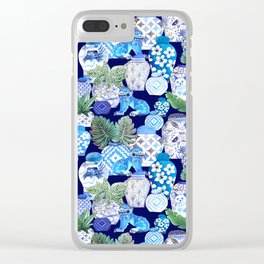 Chinoiserie Blue and white Chinese Ginger Jars and Foo dogs with palm and calathea Clear iPhone Case