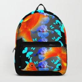 PATTERNED  BLUE BUTTERFLIES GOLD FISH & BLACK ARTWORK Backpack