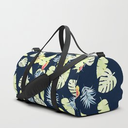 Tropical Leaves with Bromeliad and Hibiscus on Navy Duffle Bag