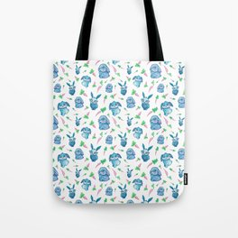 Blue Bunny Pattern Tote Bag