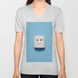 Happy smiling toilet paper on blue Unisex V-Neck