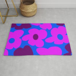 Large Pink and Purple Retro Flowers Blue Background #decor #society6 #buyart Rug
