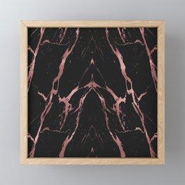 Rose Gold Black Marble Framed Mini Art Print
