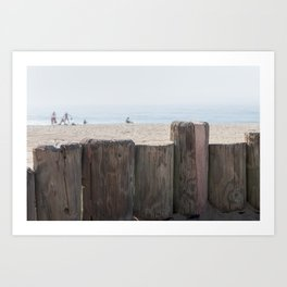 Family playing on the sand of Laguna Beach, CA Art Print