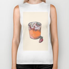 Strawberry chamomile paloma, cocktail, cocktails, beverage Biker Tank