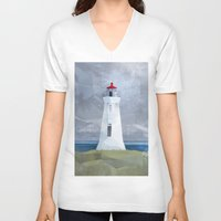 lighthouse V-neck T-shirts featuring Lighthouse by EtOfficina