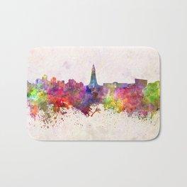 Reykjavik skyline in watercolor background Bath Mat
