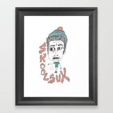 SKOOL SUX / SUMMR 4EVER Framed Art Print