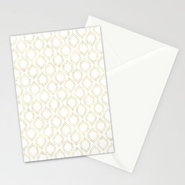 White And Gold Moroccan Chic Pattern Stationery Cards