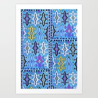 kilim Art Prints featuring Aztec Kilim by EllaJo
