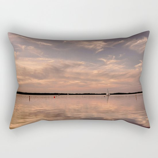 Evening at a lake- Pink Sundown with Clouds on the Water on #Society6 Rectangular Pillow
