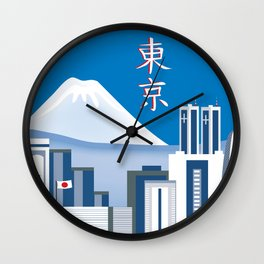 Tokyo, Japan in Kanji - Skyline Illustration by Loose Petals Wall Clock