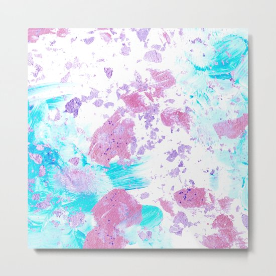Pink and Blue Metallic Modern Abstract Metal Print
