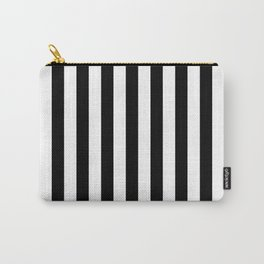 Midnight Black and White Vertical Beach Hut Stripes Carry-All Pouch