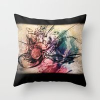 drum Throw Pillows featuring Drum by Joanne Chen